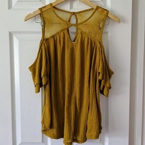 Ochre Cold Shoulder Lace Keyhole Ribbed Sheer Top